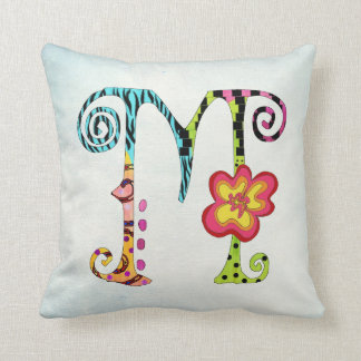 Colorful Funky Letter M Monogram Throw Pillow