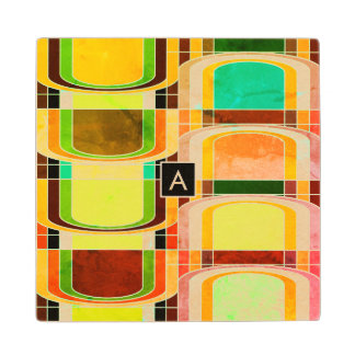 Colorful Funky Retro Inspired Wood Coaster