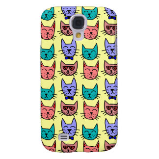 Colorful Funny Cartoon Cat Face Pattern on Yellow Samsung Galaxy S4 Covers