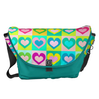 colorful funny hearts,POP ART STYLE Commuter Bags