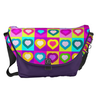 colorful funny hearts,POP ART STYLE Courier Bags