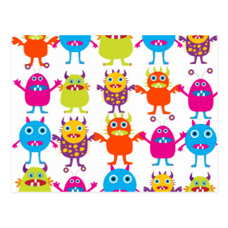 Colorful Funny Monster Party Creatures Bash Postcard