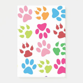 Colorful Funny Pet Pawprints Design Post-It Notes
