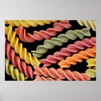 colorful fusilli italian pasta poster