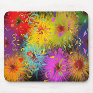 Colorful Fuzzy Splat and Confetti Mouse Pad