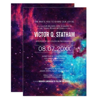 Colorful Galaxy Bar Mitzvah Party Invite