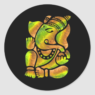 Colorful Ganesha Painting Classic Round Sticker