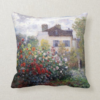 Colorful Garden of Dahlias with Monet Throw Cushions