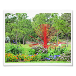 Colorful Garden with Red Art Sculpture Art Photo