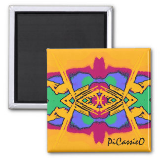 Colorful Geo Diamond Design Magnet