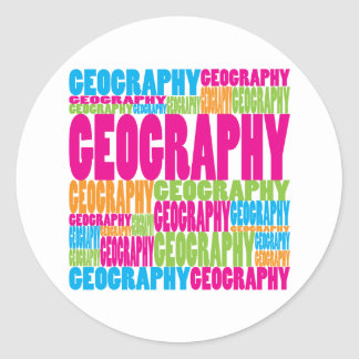 Colorful Geography Classic Round Sticker