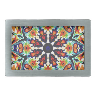 Colorful Geometric Abstract Rectangular Belt Buckles