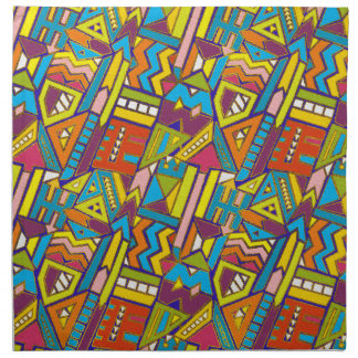 Colorful Geometric African Tribal Pattern Napkin