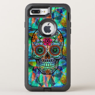 Colorful Geometric Background Floral Sugar Skull OtterBox Defender iPhone 8 Plus/7 Plus Case