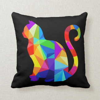 Colorful Geometric Cat Throw Pillow