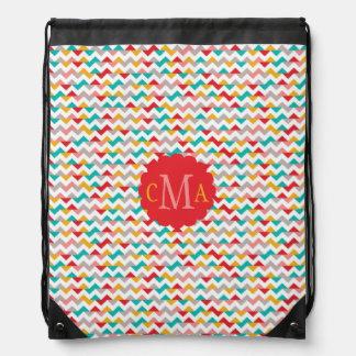 Colorful Geometric Chevron Pattern Monogram Drawstring Bag