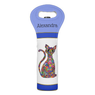 Colorful Geometric Flower Cat Blue Monogram Name Wine Bag