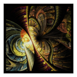 Colorful Geometric Fractal Abstract Butterfly Posters