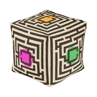 Colorful Geometric Labyrinth Design Pouf