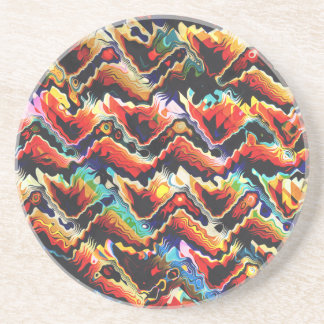 Colorful Geometric Motif Drink Coaster