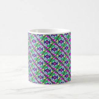 Colorful Geometric Mug in Greens and Purples