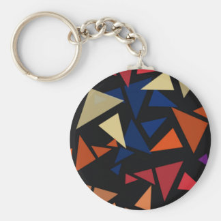 Colorful geometric pattern basic round button key ring