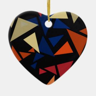 Colorful geometric pattern ceramic heart decoration