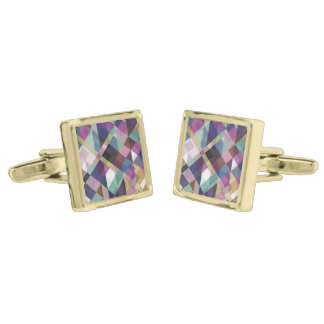 Colorful Geometric Pattern Gold Finish Cufflinks