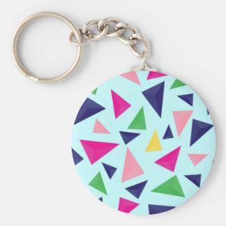 Colorful geometric pattern II Basic Round Button Key Ring