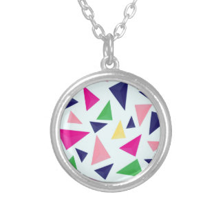 Colorful geometric pattern II Silver Plated Necklace
