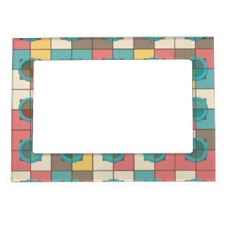 Colorful geometric pattern magnetic picture frame