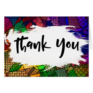 Colorful Geometric Pattern Thank You w Brushstroke Card