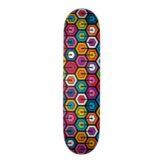 Colorful geometric pattern with hexagons 18.1 cm old school skateboard deck