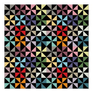 Colorful Geometric Pinwheel Black