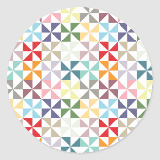 Colorful Geometric Pinwheel Classic Round Sticker