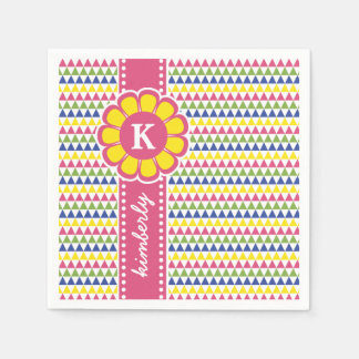 Colorful Geometric Pyramid Flower Ribbon Monogram Disposable Napkin