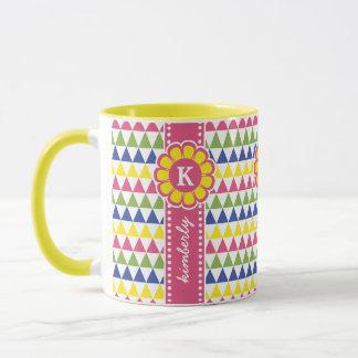 Colorful Geometric Pyramid Flower Ribbon Monogram Mug