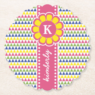 Colorful Geometric Pyramid Flower Ribbon Monogram Paper Coaster