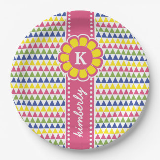 Colorful Geometric Pyramid Flower Ribbon Monogram Paper Plate