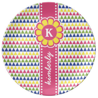 Colorful Geometric Pyramid Flower Ribbon Monogram Plate