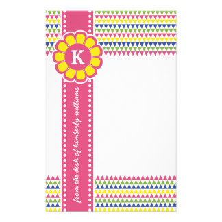 Colorful Geometric Pyramid Flower Ribbon Monogram Stationery