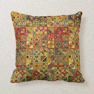 Colorful, Geometric Quilt Pattern (Aztec, Mayan..) Cushion