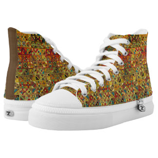 Colorful Geometric Quilt Pattern (Egyptian, Aztec) High Tops