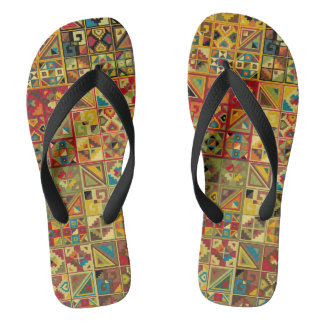 Colorful Geometric Quilt Pattern (Egyptian, Aztec) Thongs