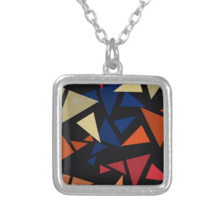 Colorful geometric Shapes Silver Plated Necklace