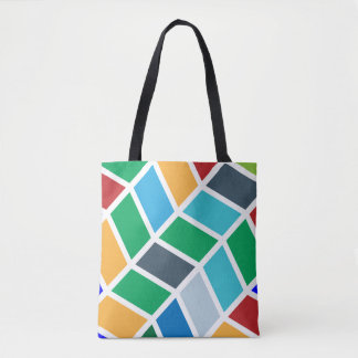 Colorful Geometric Step Pattern Tote Bag