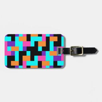 Colorful Geometric Tetris Squares - Modern Pattern Luggage Tag
