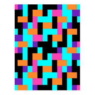 Colorful Geometric Tetris Squares - Modern Pattern Postcard