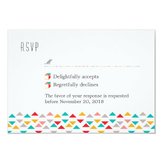 Colorful Geometric Triangle Hearts RSVP Card