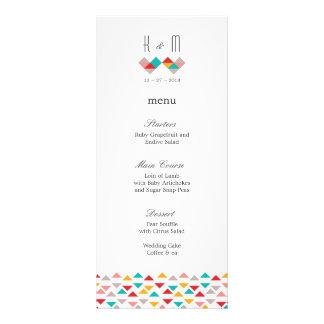 Colorful Geometric Triangle Hearts Wedding Menu Rack Cards